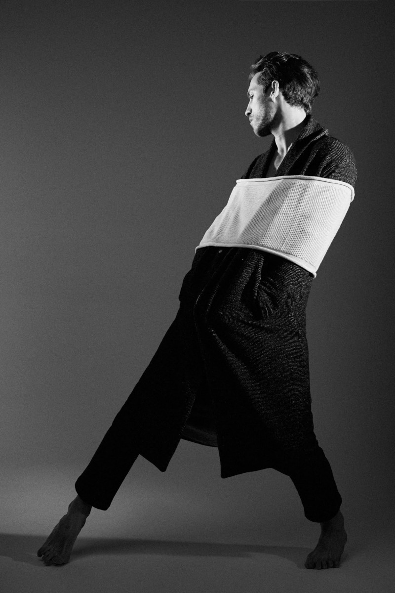 Jonathan wears all clothes Studiopretzel and vintage scarf used as waistband Archivi Guerrini.