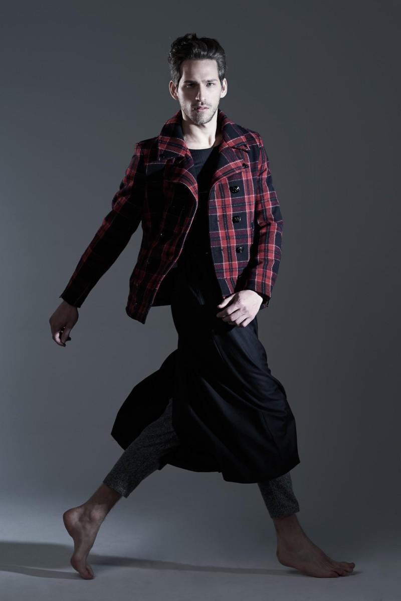 Jonathan wears vintage dress Archivi Mazzini, tartan jacket and trousers Department 5.