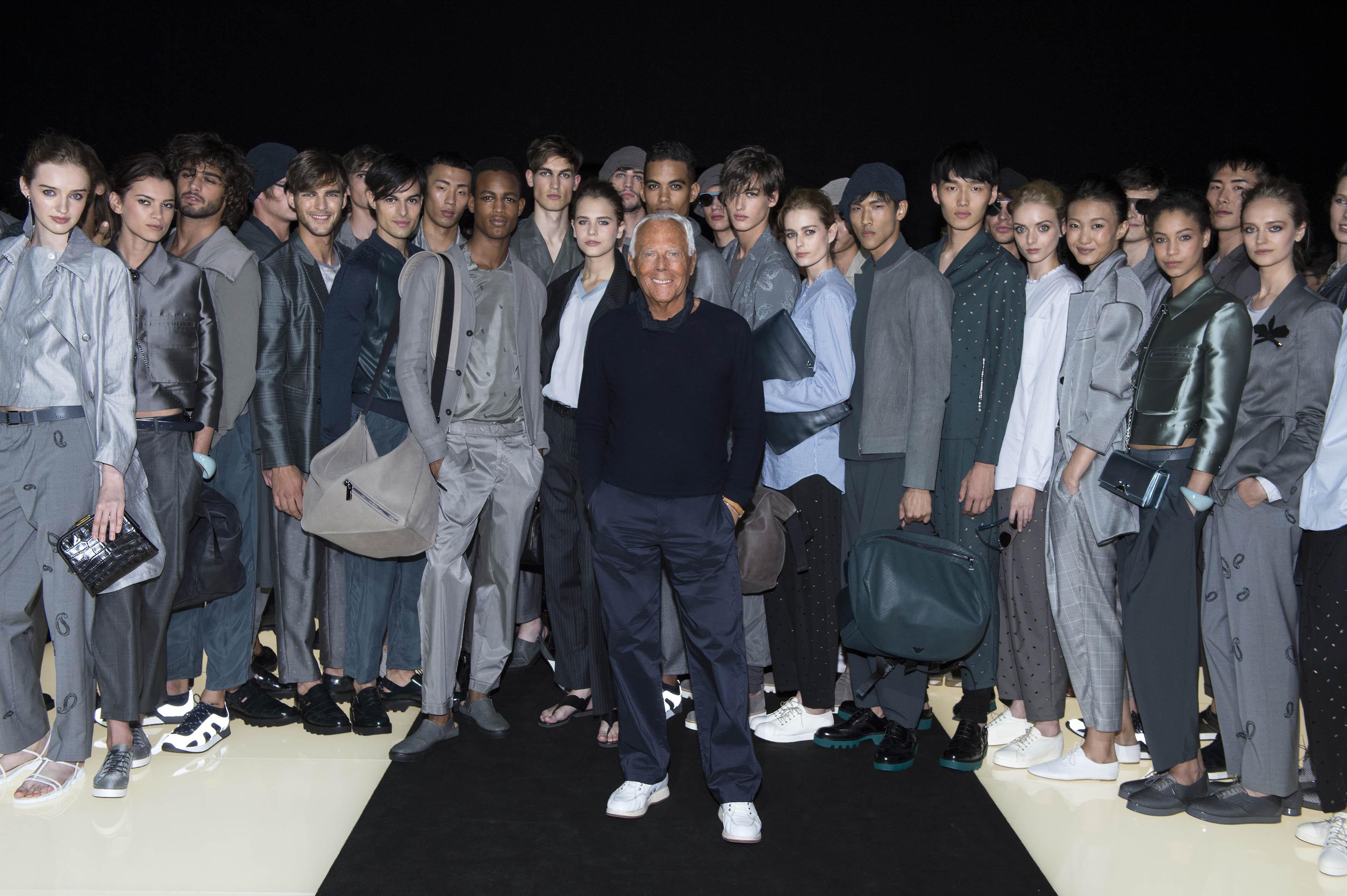Giorgio Armani Poses with Models at Emporio Armani Spring ...
