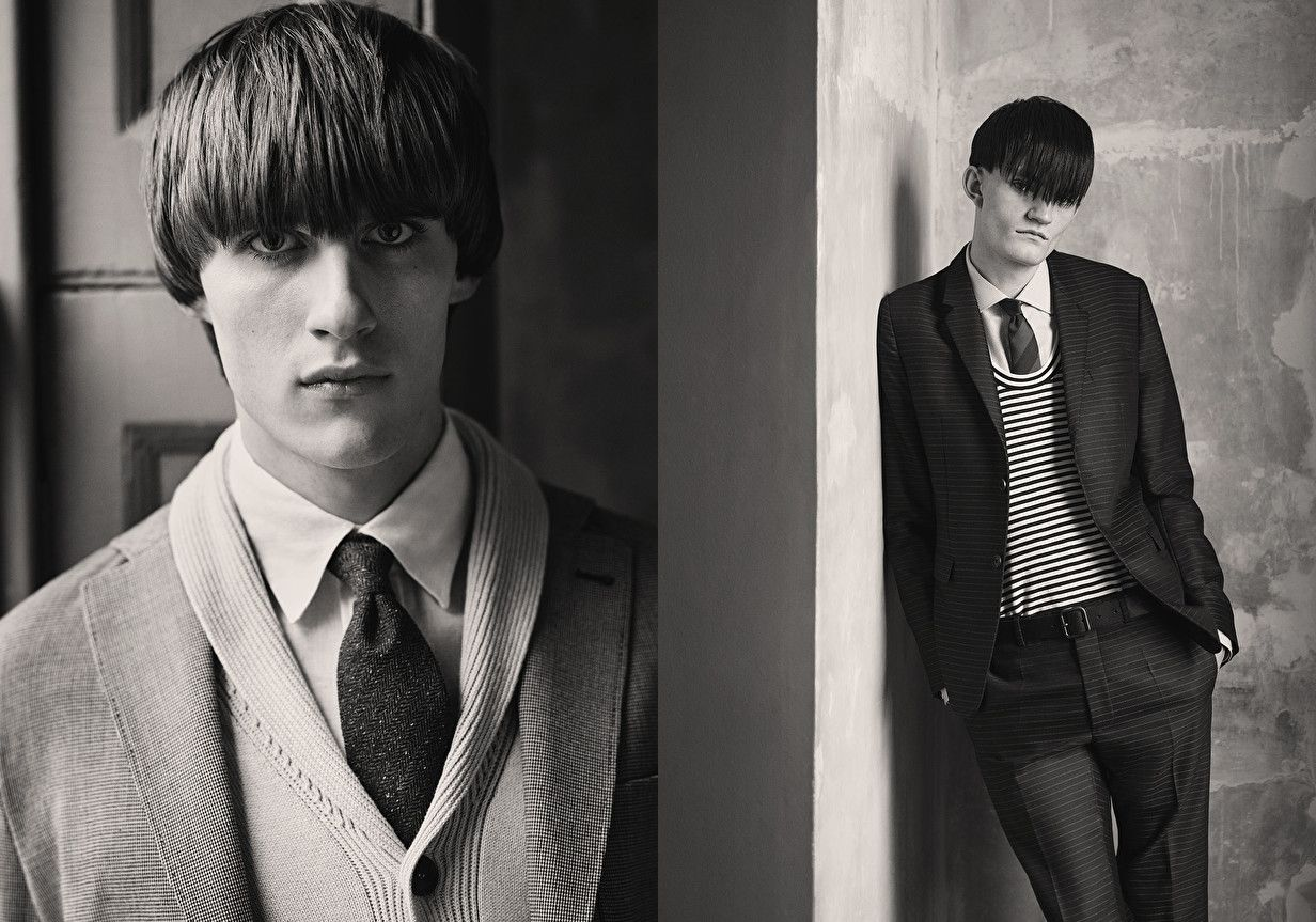 Luka Badnjar + Joe Brotherton Don 1960s Mod Styles + Bowl Cut Hairstyles for Glass Fashion Editorial