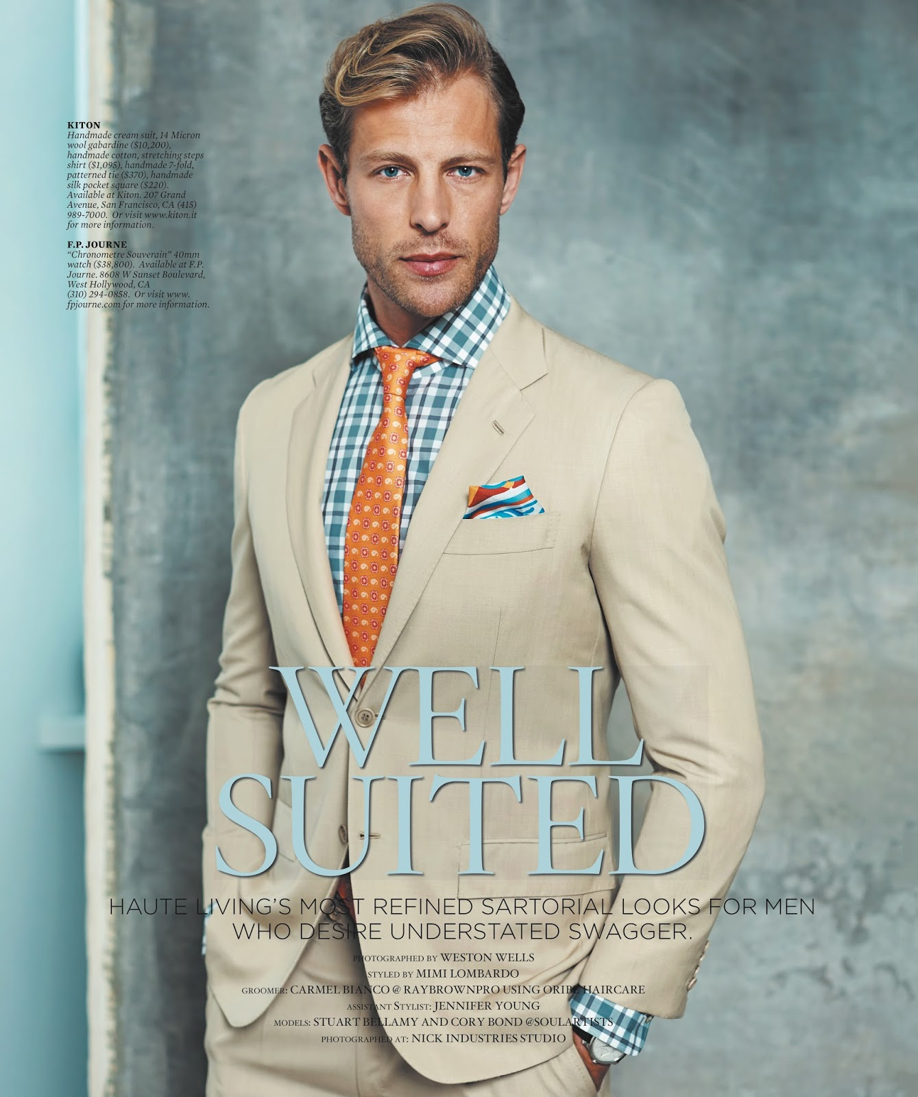 cory bond   stuart bellamy model sharp suiting for haute living