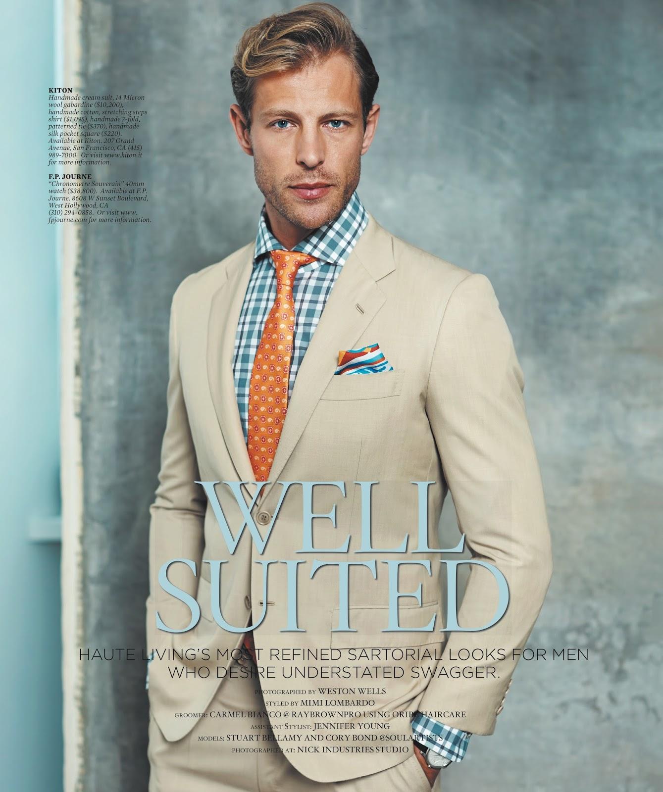 cory bond   stuart bellamy model sharp suiting for haute living