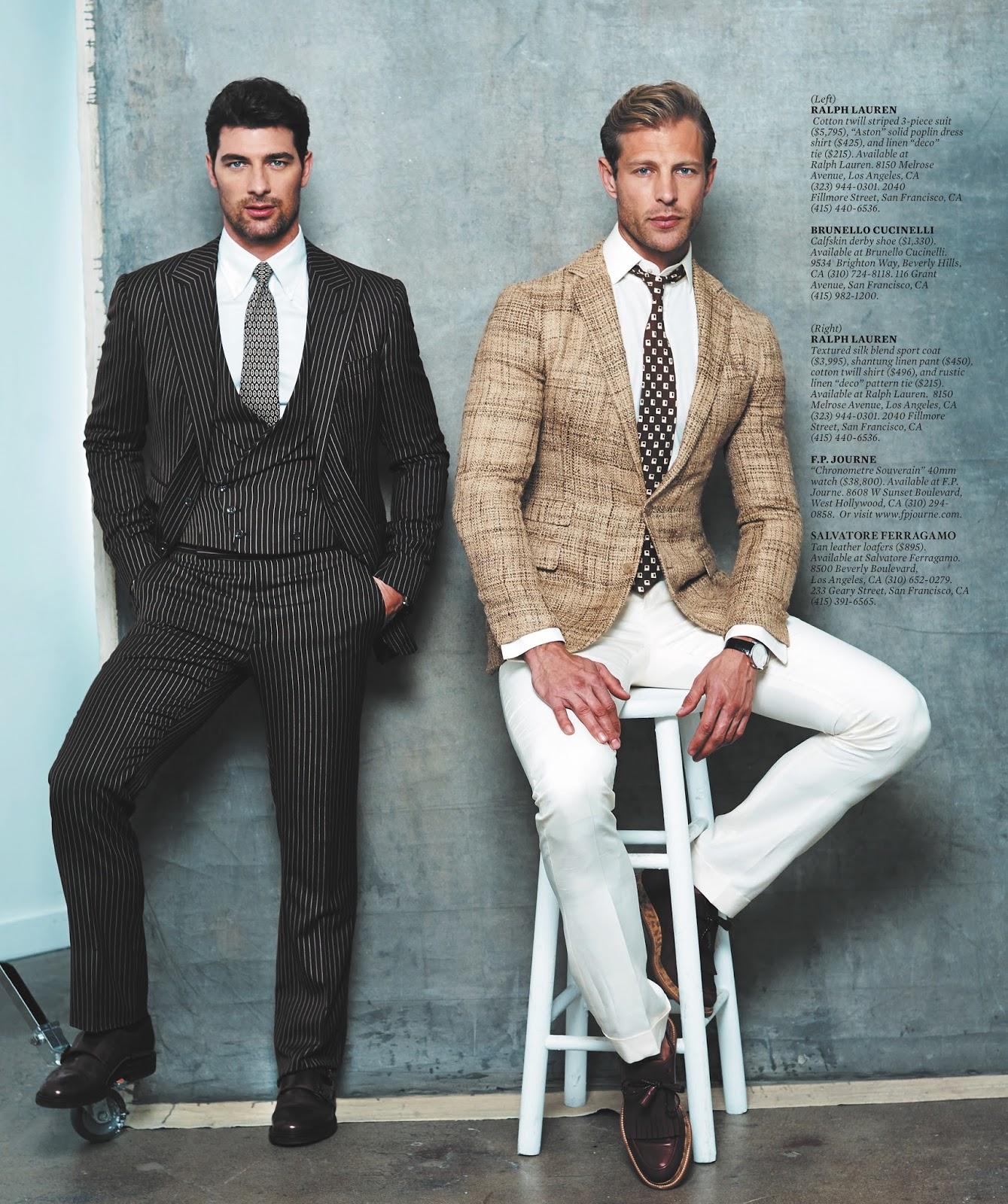 Cory Bond + Stuart Bellamy Model Sharp Suiting for Haute Living