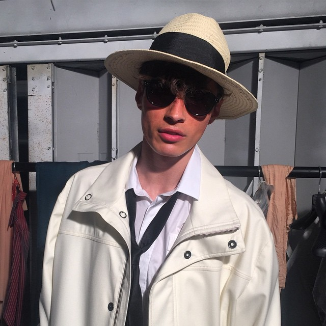 Adrien Sahores (Models1) plays it cool at Tiger of Sweden's spring-summer 2016 show.