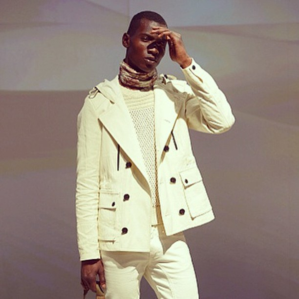 Adonis Bosso (d1) is stunning in a white number from Belstaff's spring-summer 2016 collection.