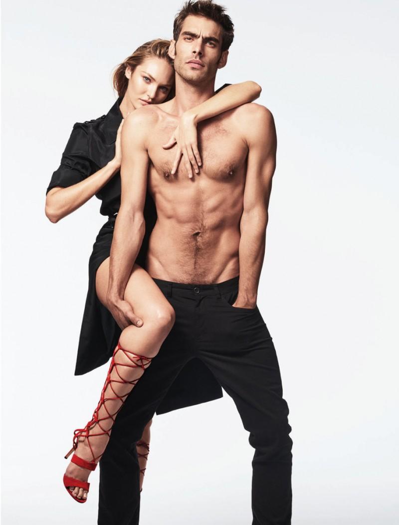 Jon Kortajarena and Candice Swanepoel pose for the CFDA Journal.