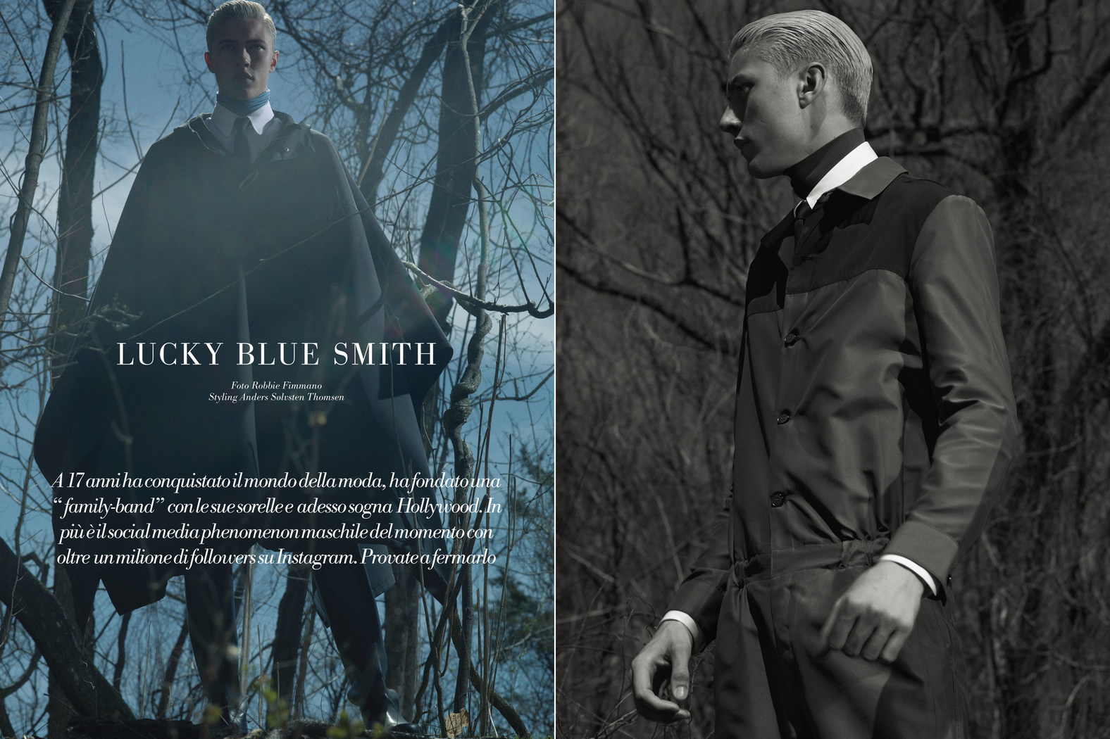 Lucky Blue Smith Heads Outdoors for L'Officiel Hommes Italia Cover Shoot