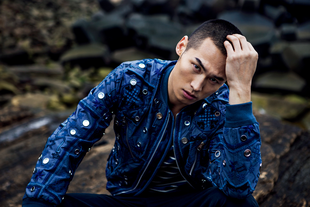 Wei Qing Fang Tackles Blue Fashions for Elle Men China
