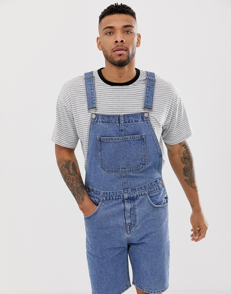 ASOS Design Denim Overall Shorts in Mid Wash $56