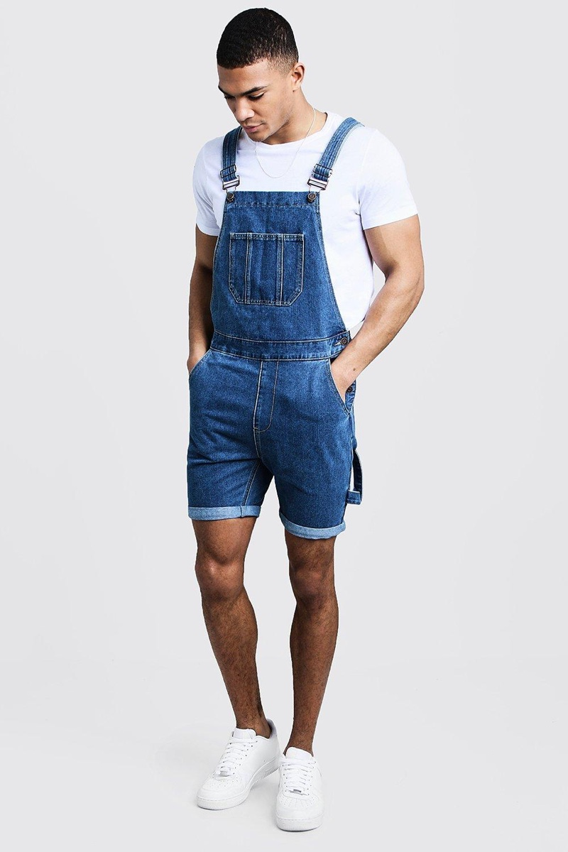 Boohoo Slim Fit Short Length Overalls in Mid Blue $24