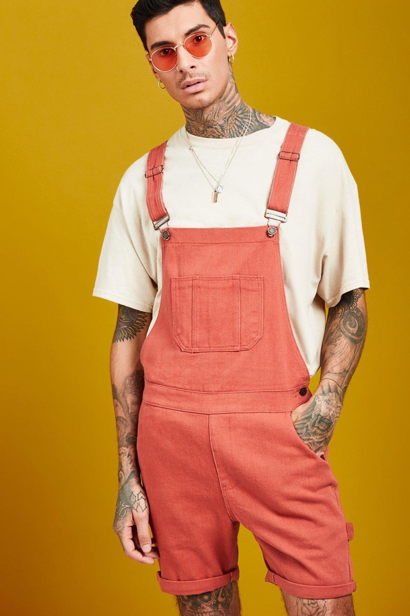 Boohoo Slim Fit Short Length Overalls in Terracotta $24