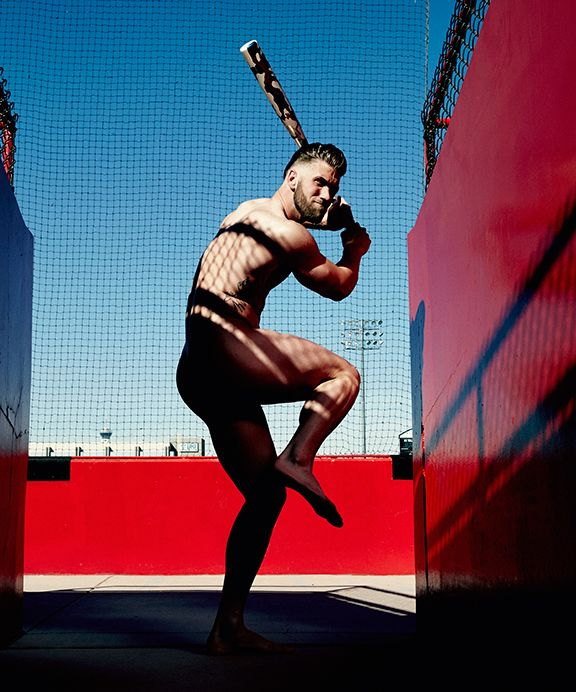 Pictured naked, Bryce Harper is up to bat in ESPN's 2015 Body Issue.