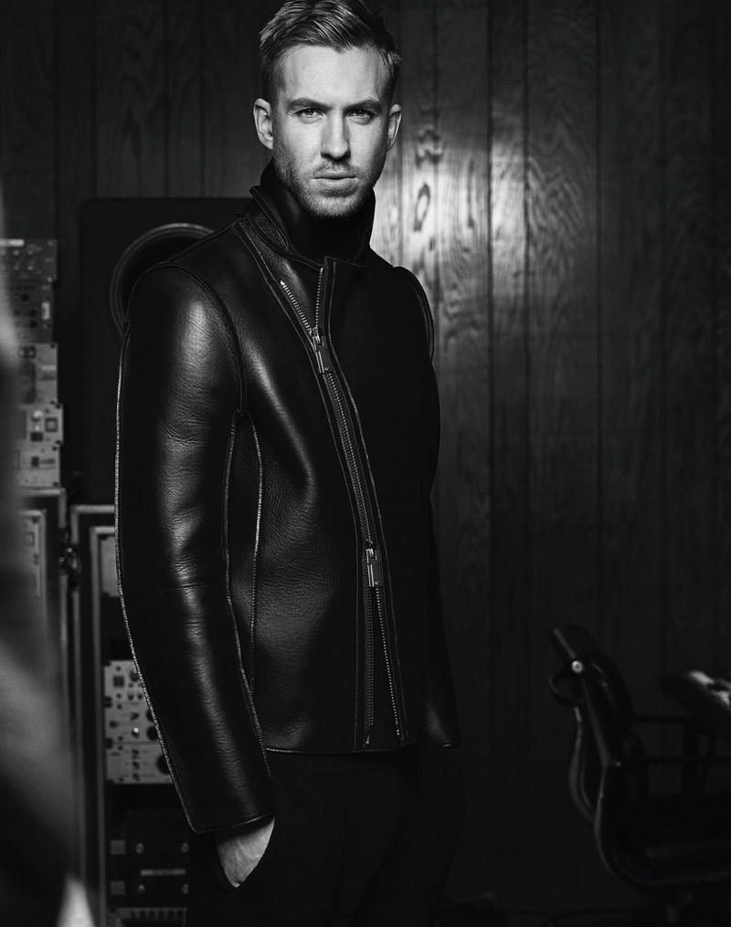 Calvin Harris dons a leather jacket for Emporio Armani fall-winter 2015 menswear campaign.