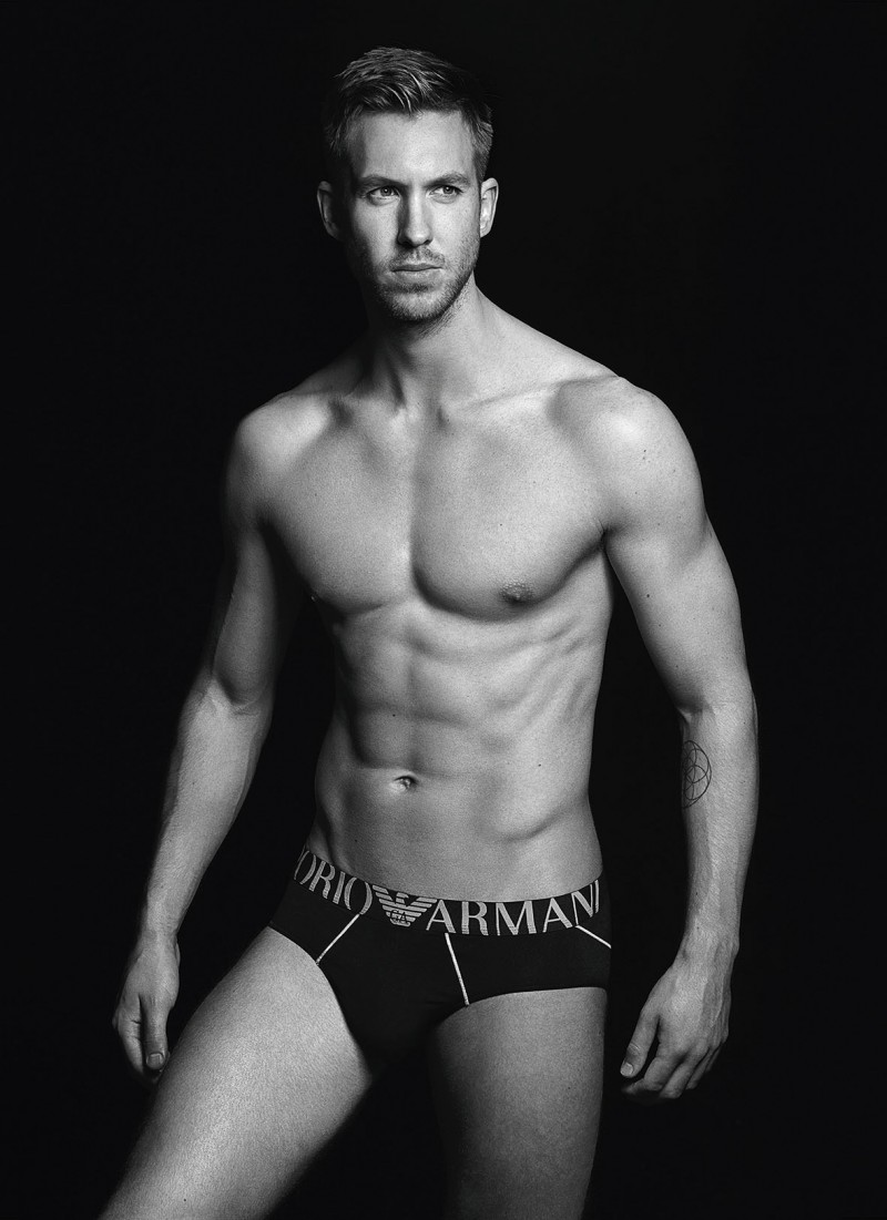 Calvin Harris goes shirtless for Emporio Armani Underwear's fall-winter 2015 advertising campaign.
