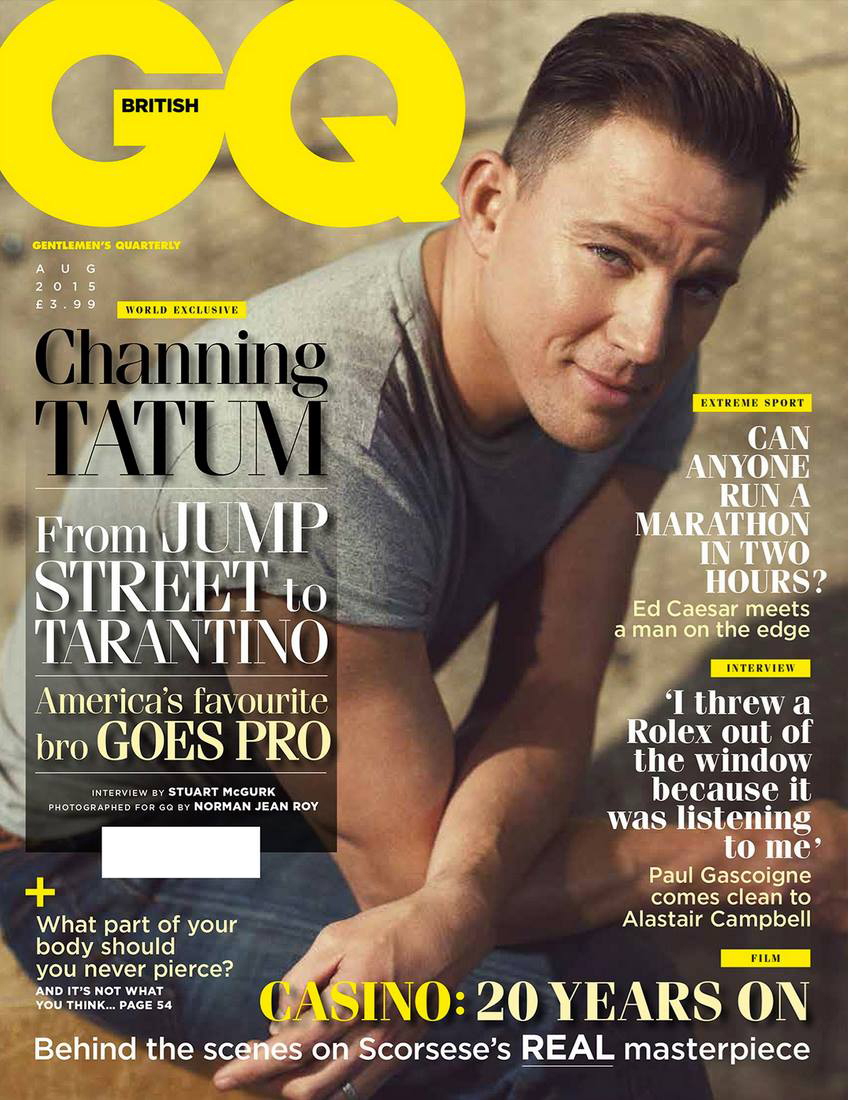 Channing Tatum Covers August 2015 British GQ, Talks Sculpting + Meeting Prince William