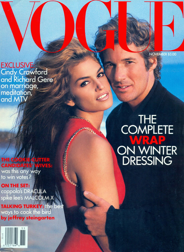 Cindy Crawford covers the November 1992 issue of Vogue with her now ex-husband Richard Gere.