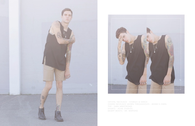 Josh wears crystal necklace Charles & Grace, charm necklace (worn throughout) model's own, top Sara Armstrong, shorts Acne Studios and desert boots Dr Martens.