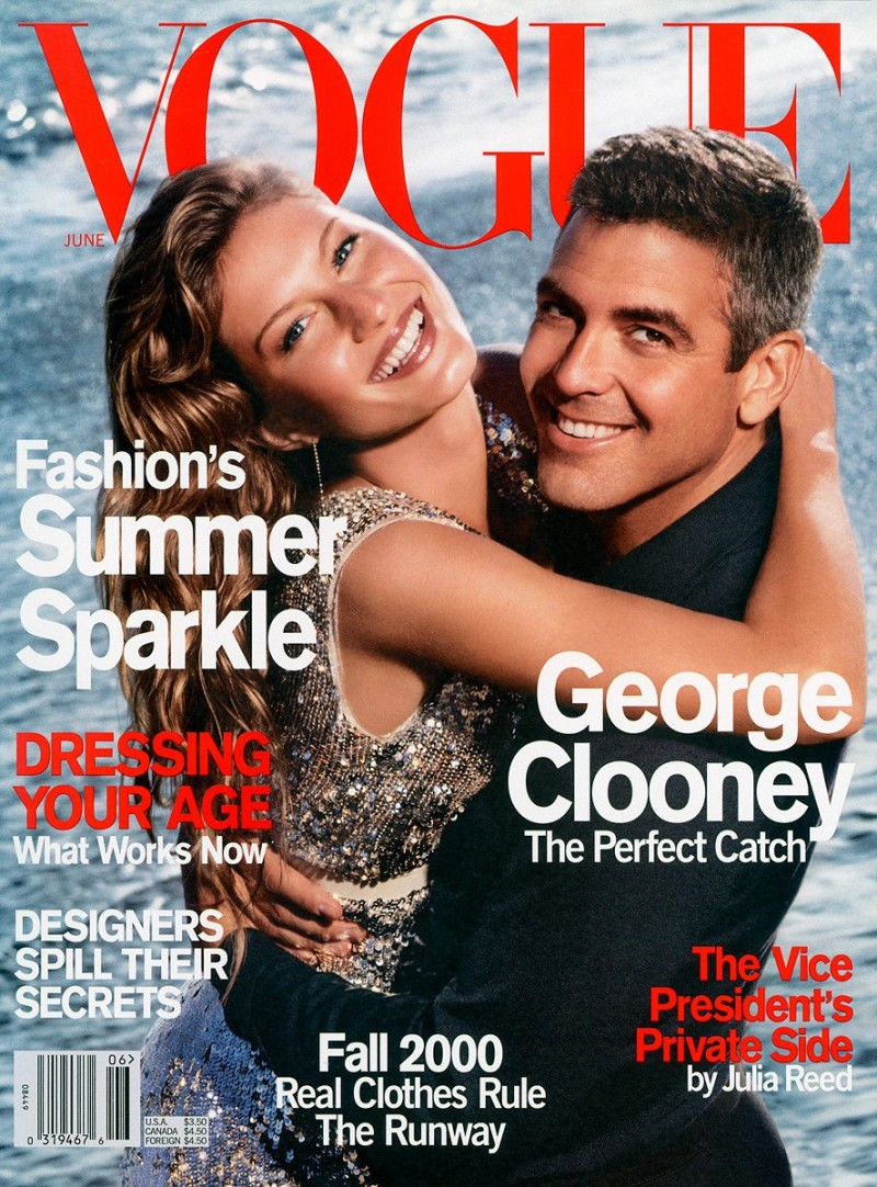 George Clooney covers the June 2000 issue of Vogue with supermodel Gisele Bundchen.