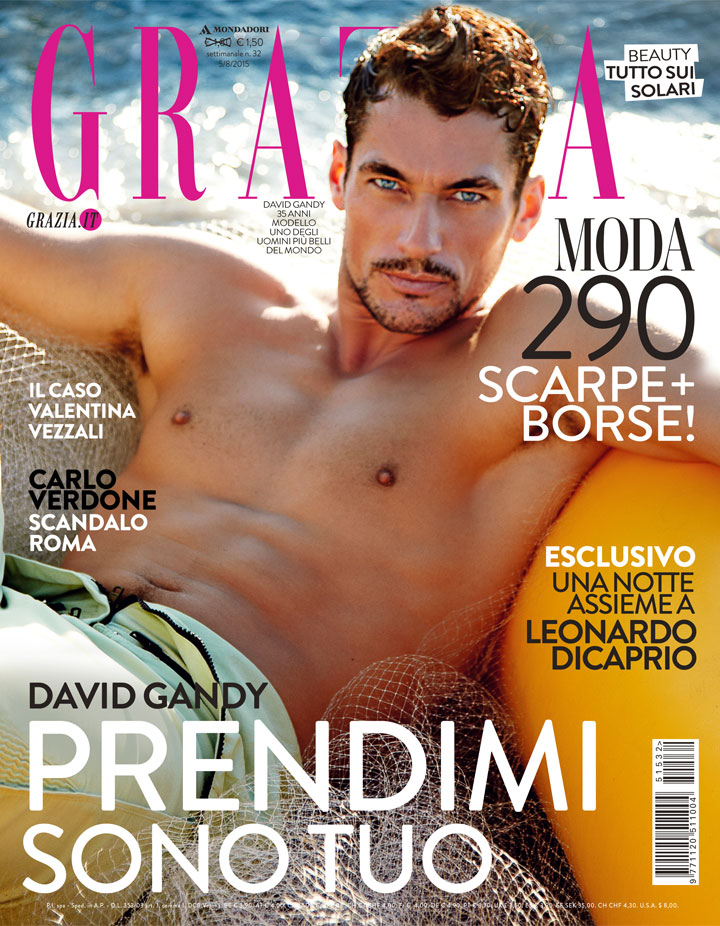David Gandy covers an August issue of Grazia Italy