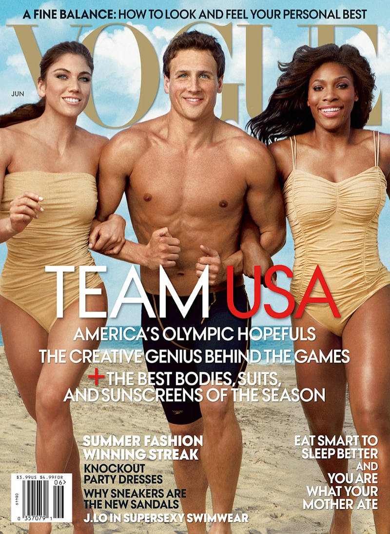 Ryan Lochte is the center of attention, gracing Vogue's June 2012 cover with Hope Solo and Serena Williams.