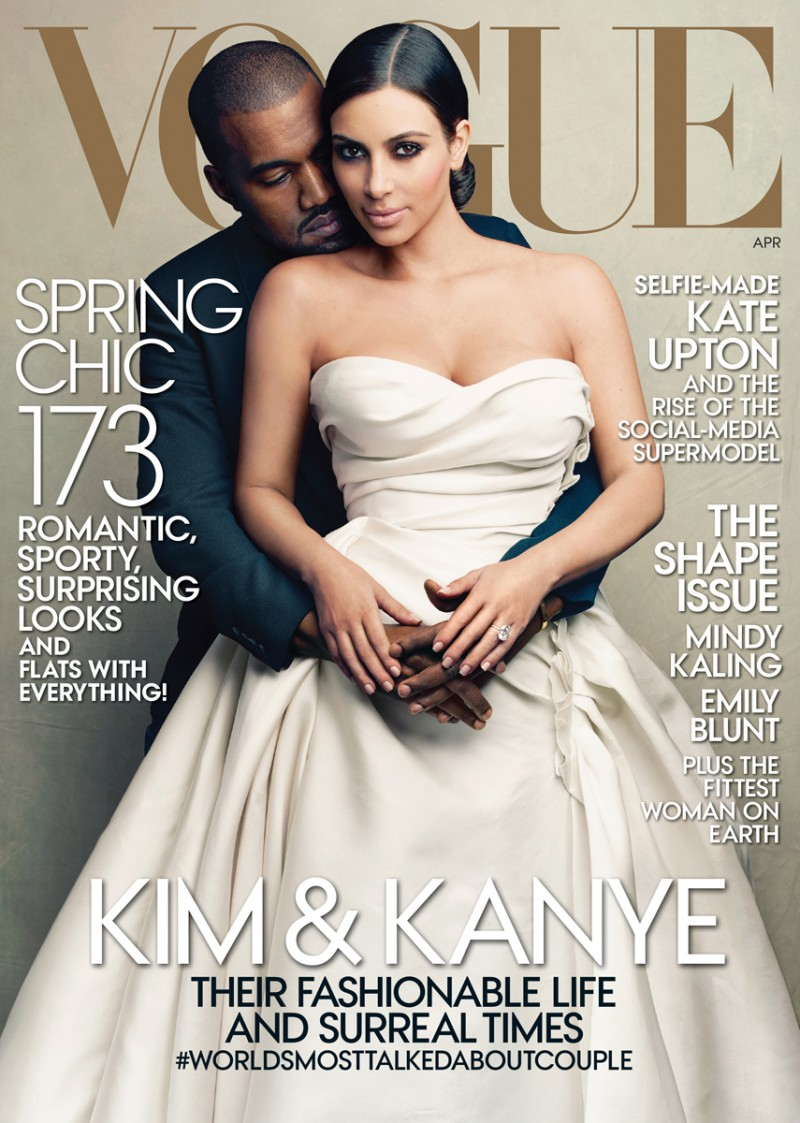 Kanye West covers Vogue's April 2014 issue with his now wife Kim Kardashian.