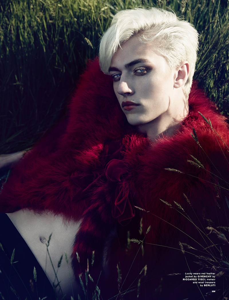 Lucky Blue Smith Rocks a Red Lip for Love Shoot