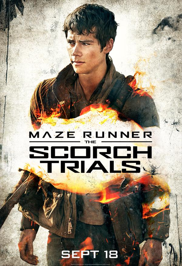 Maze Runner: The Scorch Trials movie poster featuring Dylan O'Brien as Thomas