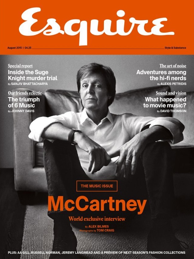 Paul McCartney covers the August 2015 issue of Esquire UK.