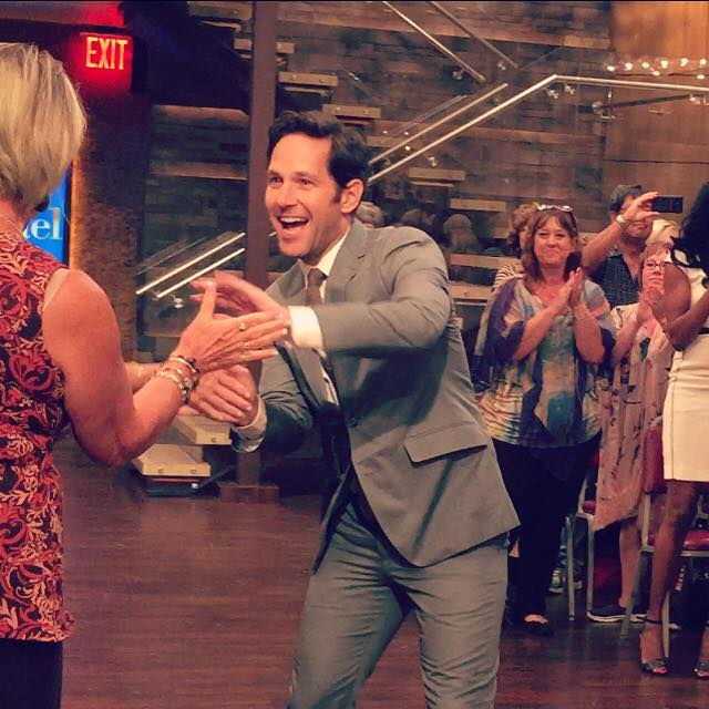Paul Rudd tapes an interview segment at Live! with Kelly and Michael.