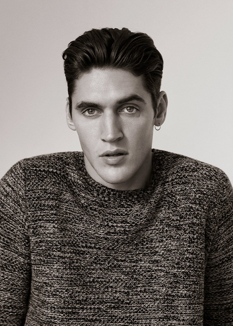 Isaac Carew Models Modern Essentials for Pull & Bear Fall/Winter 2015 Black Label Collection