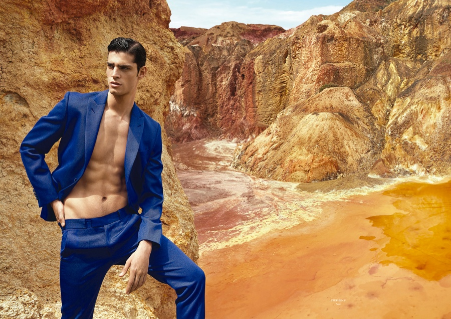 Stefano Franco Dons Colorful Men's Suiting for Horse Editorial