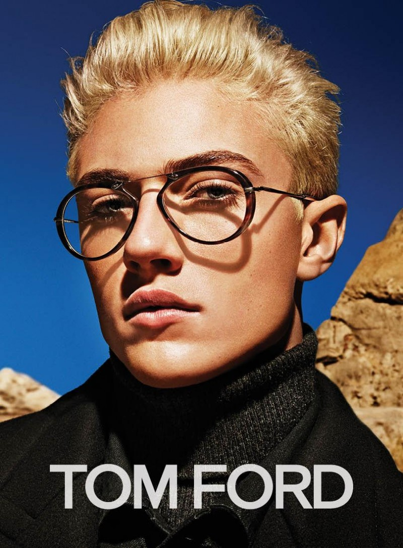 Lucky Blue Smith models eyewear for Tom Ford's fall-winter 2015 advertising campaign.