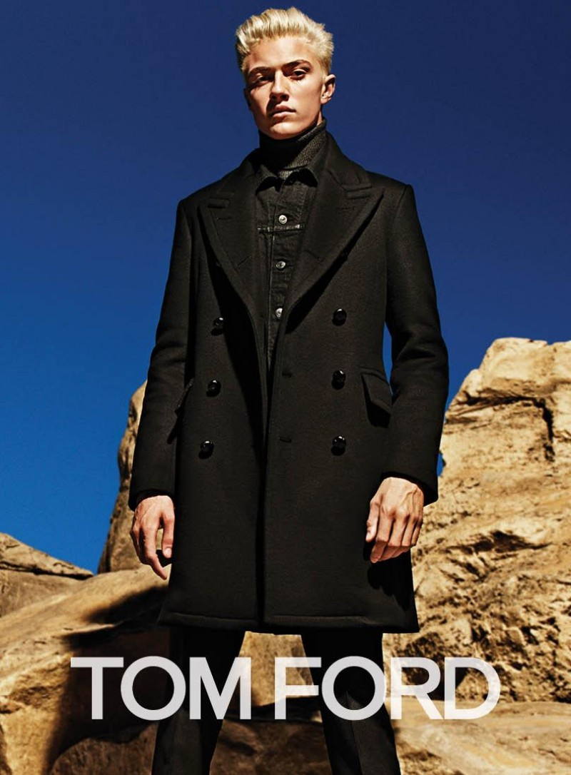 Lucky Blue Smith models a double-breasted coat for Tom Ford's fall-winter 2015 advertising campaign.