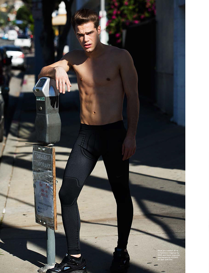 Tucker Des Lauriers Models Sporty Styles for Wonderland Shoot