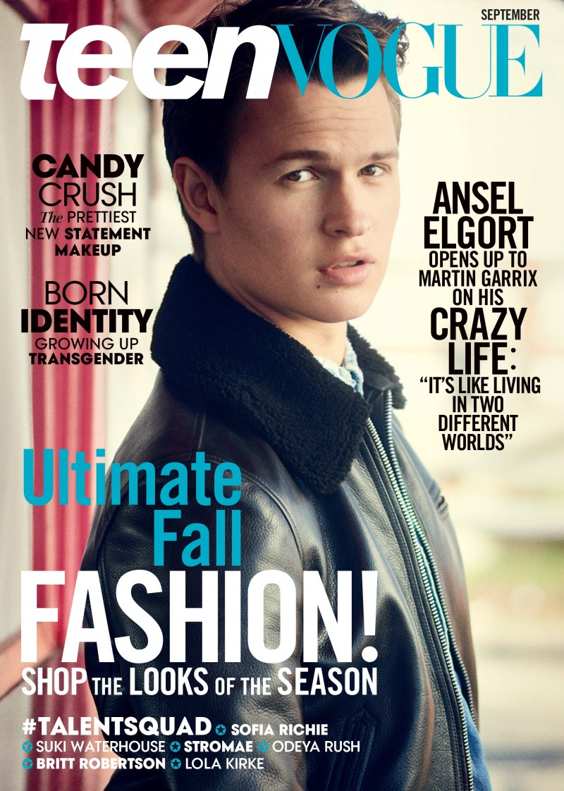 Ansel Elgort covers the September 2015 issue of Teen Vogue.
