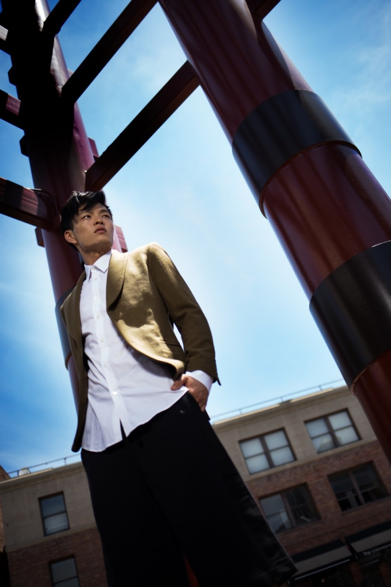 Satoshi wears blazer Jenny Schwarz, shirt Alexander McQueen and shorts Dries Van Noten.