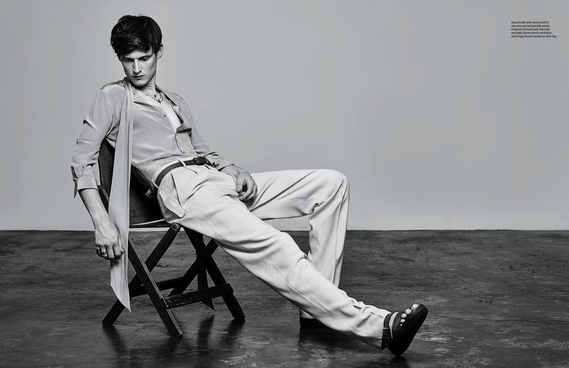 Model Adam Butcher dons a sleek, loose silhouette.