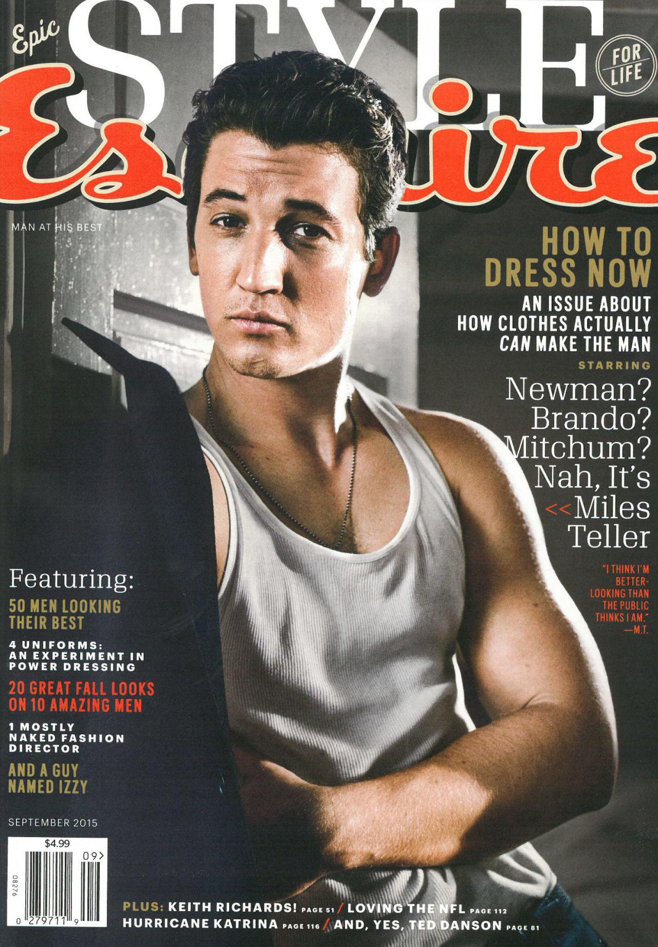 Miles Teller Covers September 2015 Esquire