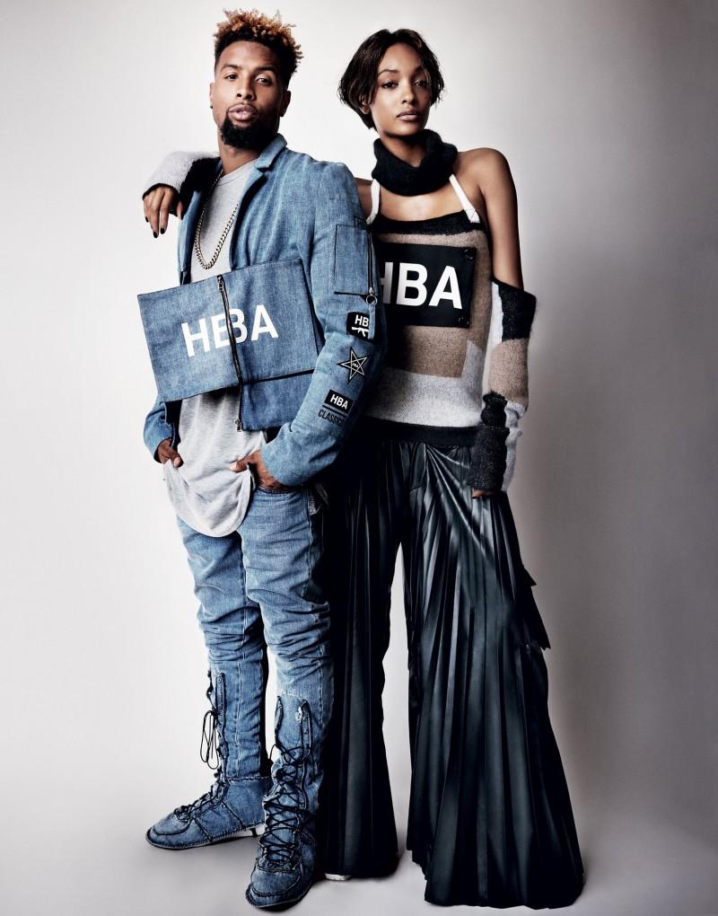 Football player Odell Beckham Jr. and model Jourdan Dunn in Hood By Air for Vogue's September 2015 issue