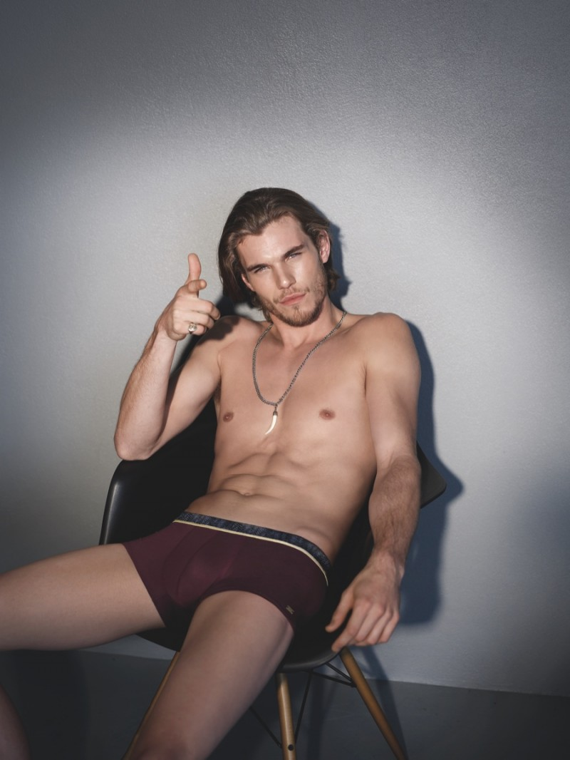 Pete Bolton lounges in his HOT Impetus underwear.