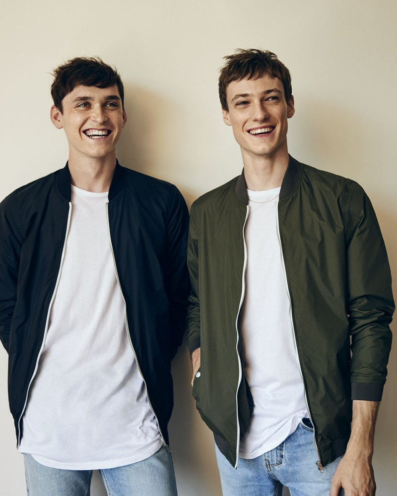 Anders Hayward and Tommaso de Benedictis are all smiles as they rock the bomber jacket for Pull & Bear.