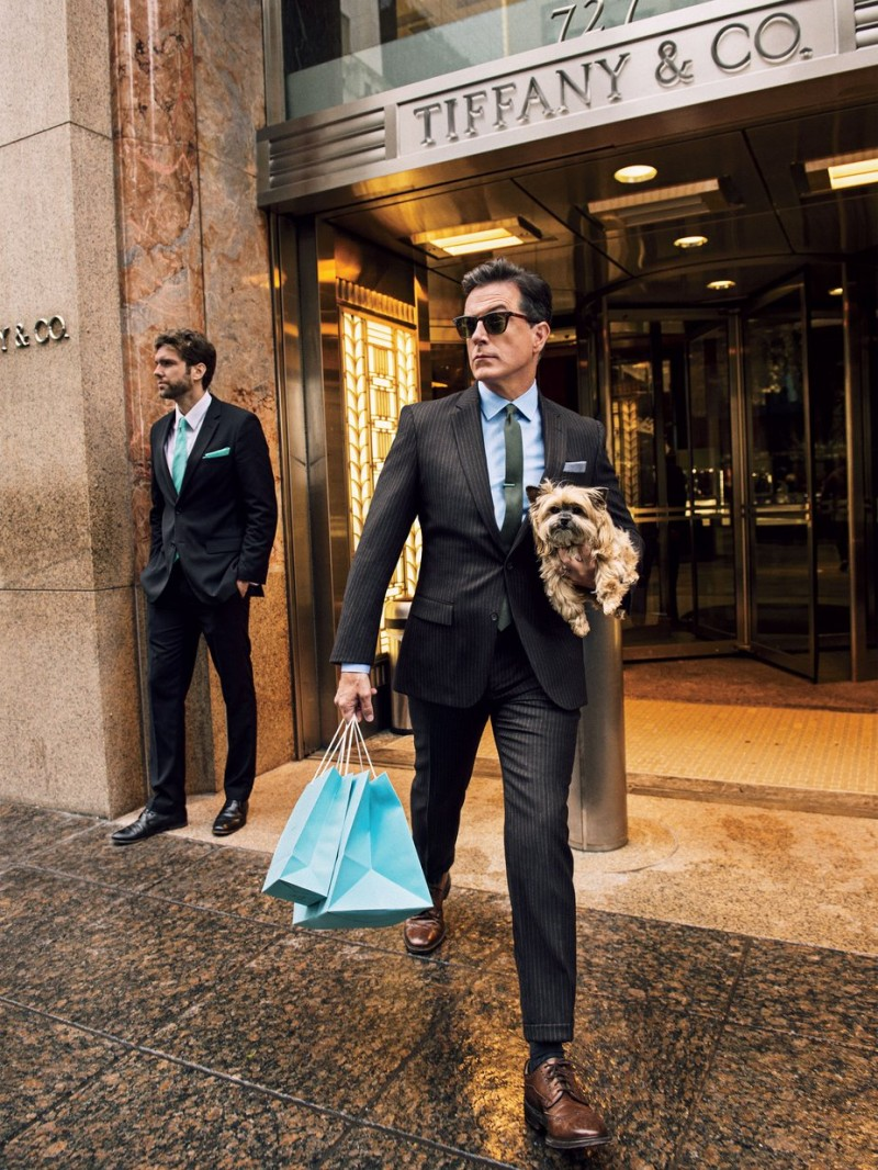 Donning a pinstripe suit, Stephen Colbert is photographed outside Tiffany & Co.
