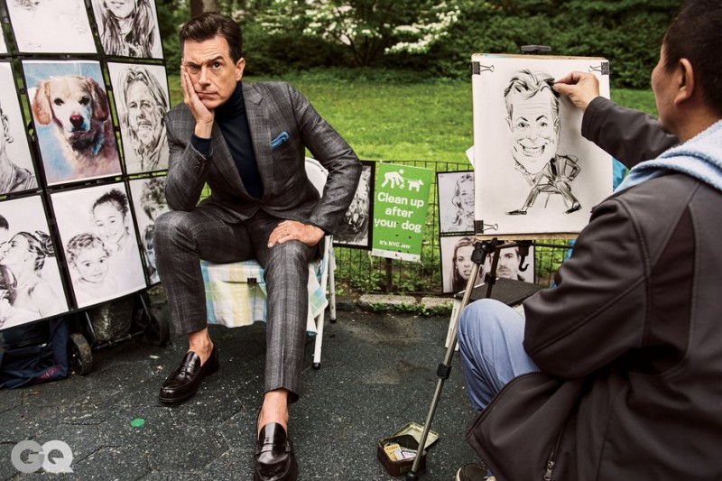 Sporting a turtleneck underneath a suit, Stephen Colbert poses for a caricature.
