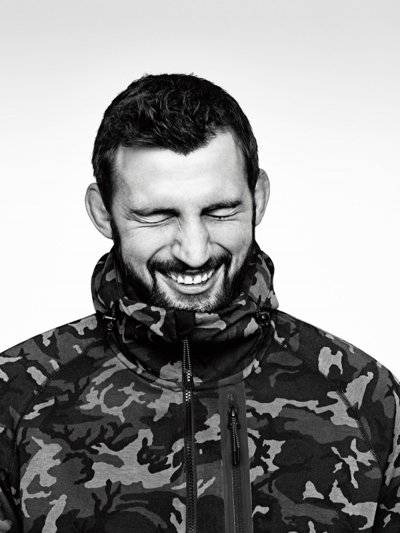 Rugby player Tom Wood wears Nike Tech Fleece Collection.