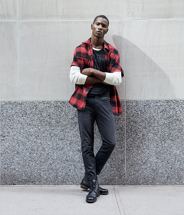 Adonis Bosso models R13's look for Barneys' Made in New York collection.