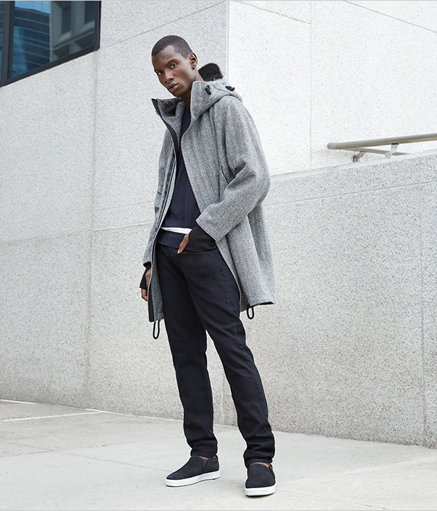 Adonis Bosso models Rag & Bone's look for Barneys' Made in New York collection.