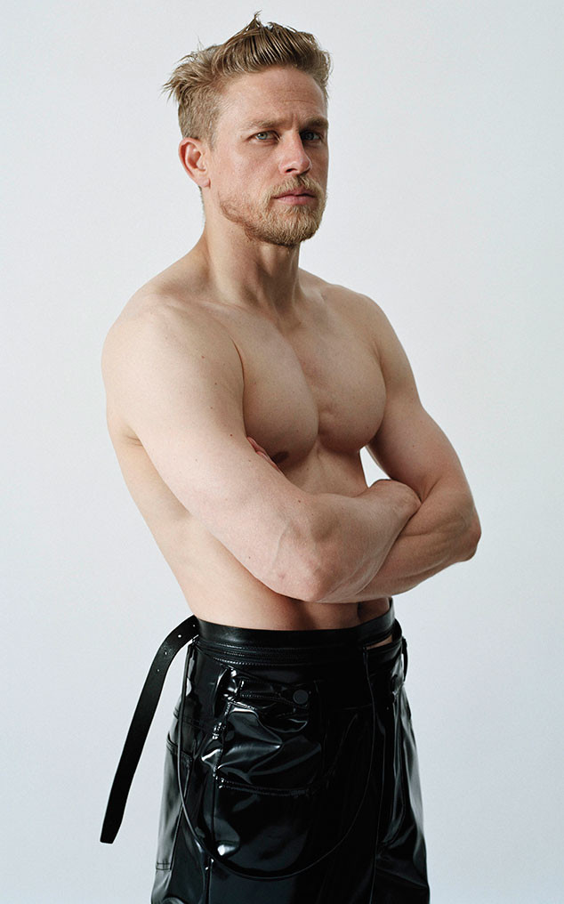 Charlie Hunnam goes shirtless in a modern kilt-inspired style.