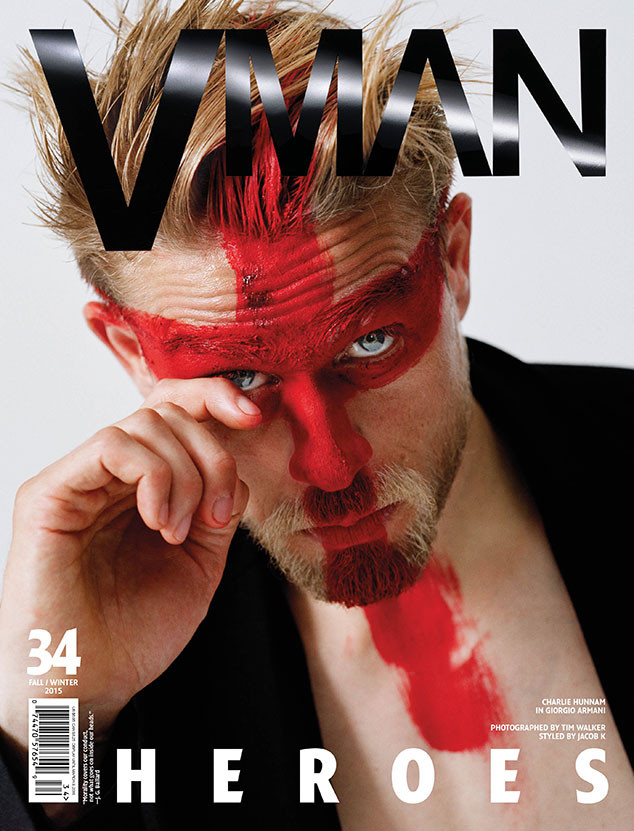 Charlie Hunnam covers the fall-winter 2015 edition of VMAN.