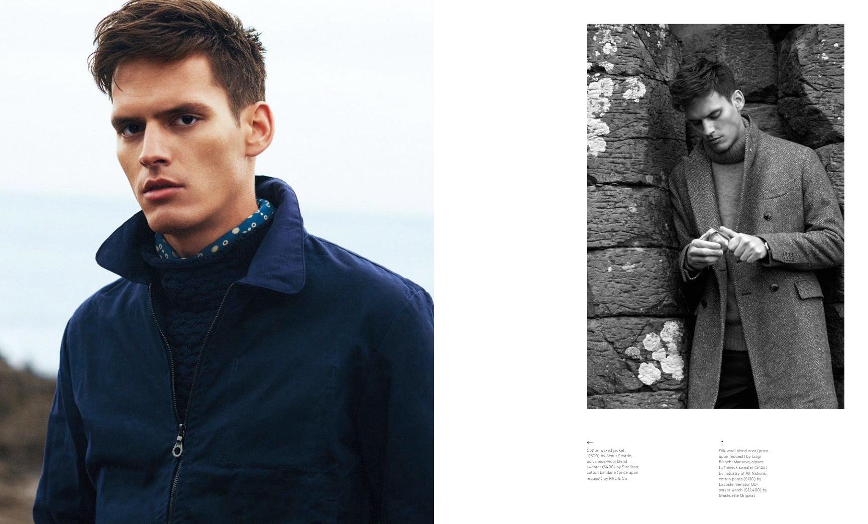 Christopher Michaut Models Fall Coats for Sharp Magazine