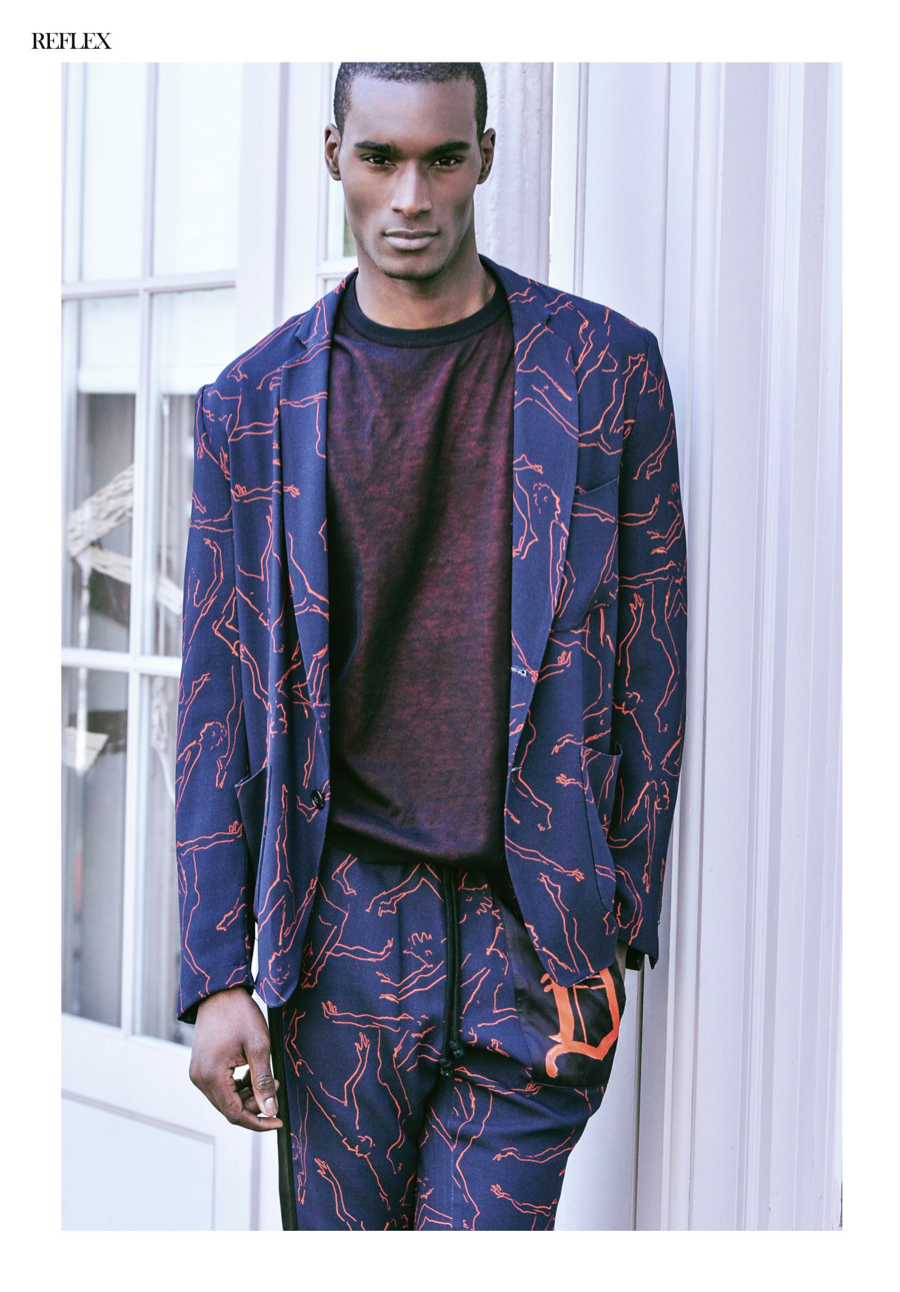 Corey Baptiste Models Colorful Styles for Reflex Homme Cover Shoot